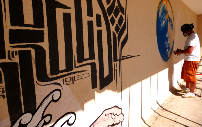 Mr. Klevra, Guga e omino71. Street art Italia Brasile